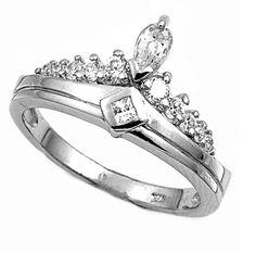 925 Sterling Silver CZ Designer Style Ring 12MM