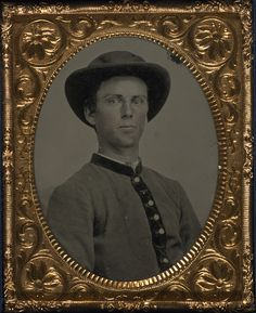 Unidentified soldier in Confederate uniform and slouch hat. Ninth-plate, hand-colored tintype. Liljenquist Family Collection, Prints and Photographs Division, Library of Congress [Digital ID # ppmsca-27149] http://www.loc.gov/pictures/item/2010650204/ - The Last Full Measure: Civil War Photographs from the Liljenquist Family Collection   Exhibitions - Library of Congress
