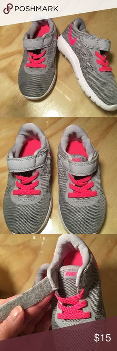Nike Running Shoes Velcro Toddler Size 7 Light Such a nice comfy pair of shoes for your little one! Cushioned sole. Velcro closure. No stains, marks, tears or rips. Hardly worn.Poshmark doesn't have Toddler size 7, It starts at 7 1/2. Excellent condition and comes from my non smoking home Nike Shoes Sneakers