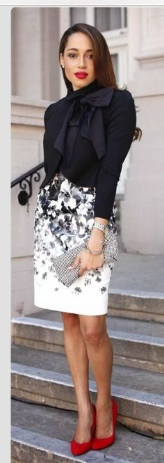 Amazing Business LAdy Look Black and White Classical colours Perfect Skirt. Amazing Business LAdy Look Black and White Classical colours Perfect Skirt. Women's Dresses, Business Outfit, Business Women, Business Lady, Business Chic, Looks Style, Work Attire, Mode Style, Work Fashion