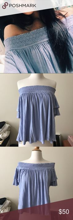 NWT FREE PEOPLE TOP Free people New with tags never worn. Off the shoulder flowy lavender top. Super soft and comfortable. Size medium. Free People Tops Tees - Short Sleeve