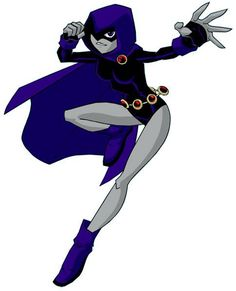 Raven from the anime Teen Titans. Raven is the darker, moodier one of the Titans. She's from Azarath, and her father is Trigon, a demon. She uses her mental abilities to attack villains. Dc Super Heros Girl, Raven Teen Titans Cosplay, Teen Titans Raven, Cartoon Network, Disney Pixar, Raven Costume, Starfire And Raven, Original Teen Titans, Dc Cosplay
