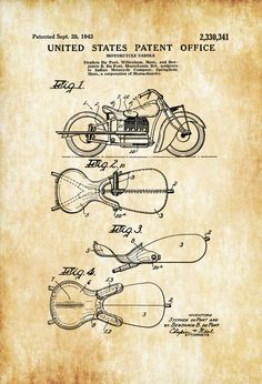 Indian Motorcycle Saddle Patent 1943 - Motorcycle Decor, Motorcycle Parts, Motorcycle Art, Vintage