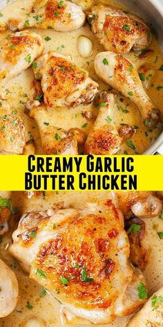 Creamy Garlic Butter Chicken with golden brown pan-fried chicken thighs and drum. - Creamy Garlic Butter Chicken with golden brown pan-fried chicken thighs and drumsticks in a rich and creamy sauce. This one-skillet chicken dinner is . Chicken Thights Recipes, Baked Chicken Recipes, Recipe Chicken, Bone In Chicken Recipes, Chicken Recipes For Dinner, Recipes Dinner, Chicken Quarter Recipes, Different Chicken Recipes, Meat Recipes