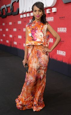 Chic in Chiffon from The Best of the Red Carpet Kerry Washington hits the red carpet of the Berlin premiere of Django Unchained in a silk chiffon J. She carries a Jill Milan Holland Park clutch. Django Desencadenado, Celebrity News, Celebrity Style, Berlin, Django Unchained, Olivia Pope, Floral Gown, Kerry Washington, Girls Rules