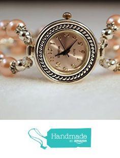 Handmade Watch Silver and Pink Pearls Women Watch from S L Jewelry Designs http://www.amazon.com/dp/B0172OXP4Y/ref=hnd_sw_r_pi_dp_6Z8swb14ZJB96 #handmadeatamazon