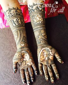 Trending mehendi designs for brides | Bridal henna inspiration | Bride and groom motifs | Love story henna | Ganesh ji mehendi designs | Personalized henna designs | Indian brides | Gujrati bride | Credits: Henna for All | Every Indian bride's Fav. Wedding E-magazine to read. Here for any marriage advice you need | www.wittyvows.com shares things no one tells brides, covers real weddings, ideas, inspirations, design trends and the right vendors, candid photographers etc.