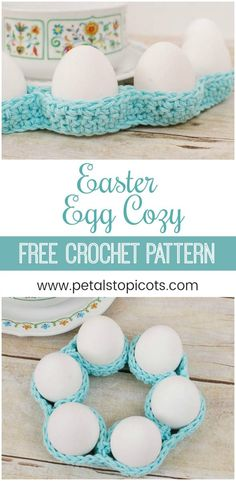 This crochet egg cozy pattern is so super easy and gives you a great decor bang for your efforts! And it's perfect for beginner crocheters too! I love how this cozy looks on my Easter table weaving around the dishes and platters. #petalstopicots