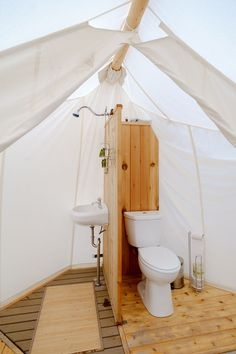 Glamping Bathrooms & Amenities - Tents - Ideas of Tents - Glamping Bathroom Amenities Design Ideas Breathe Bell Tents Australia Inspo Bathroom design ideas canvas fabric porcelain sinks Zelt Camping, Camping Glamping, Luxury Camping, Outdoor Camping, Camping Tips, Walmart Camping, Backpacking Meals, Camping Gadgets, Rv Tips