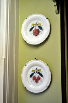 Vintage Westmoreland Milk Glass plates with Cherries and Apple