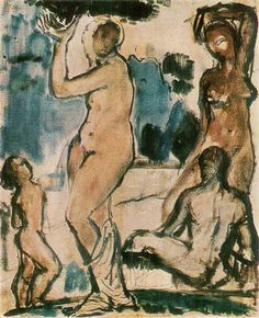 """A painting by Wilhelm Lehmbruck """"Composition"""", 1913 Rodin, Gold Ring, Art Gallery, Composition, Doodles, Shape, Drawings, Artist, Painting"""