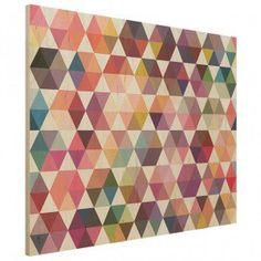 Hexagon Facets Wood Print - geometric wooden wall decor