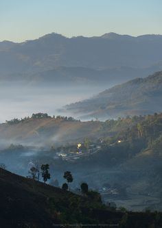 Mountains, fog, sun, and wind. - Doi Mae Salong Mae Salong Nok Chiang Rai, Thailand.