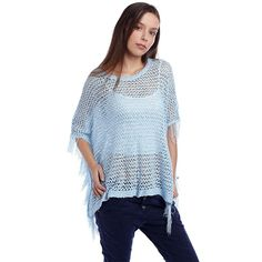 Blue poncho cape with fringing