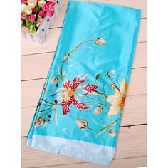 Trumpet Flower Printed Silk Square Scarf (160 ARS) ❤ liked on Polyvore featuring accessories, scarves, square scarves, pure silk scarves, silk scarves, floral shawl and floral print scarves