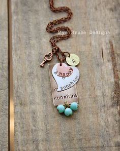 I love jewelry like this! you are my sunshine - mixed metal design with personalized initials - and key to my heart elements with antique aqua dangles