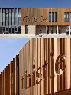 Image result for modern wood slat signage