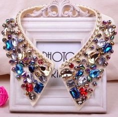 Buy Women Colorful Jewelry Rhinestone Fake Collar Necklace at Wish - Shopping Made Fun Rhinestone Necklace, Collar Necklace, Silver Earrings, Silver Jewelry, Jewelry Accessories, Fashion Accessories, Women Jewelry, Jewelry Sets, Fashion Jewelry