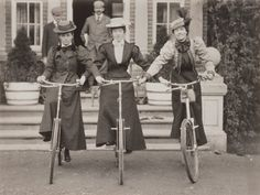 Early photographs of bicycles | Three women on bicycles, early 1900s