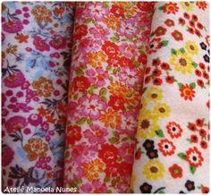 Materiais que utilizo em minhas peças: feltros com estampas florais