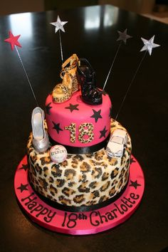 Leopard Print & High Heel Shoes 18th Birthday Cake