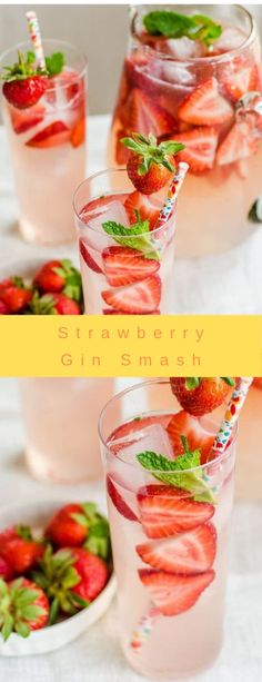 Strawberry Gin Smash #strawberry