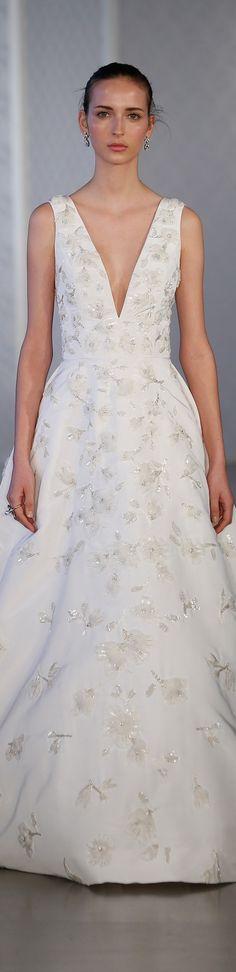 beautiful elegant v cut wedding gown inspiration. Oscar de la Renta spring 2017 + dress with floral applique detailing, fantastic bridal inspiration