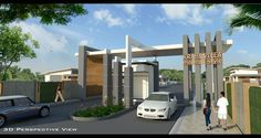 Gate Wall Design, Main Gate Design, Entrance Design, Facade Design, Roof Design, Front Gates, Entrance Gates, Main Entrance, Grand Entrance