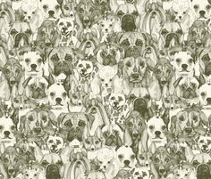 christmas dogs natural fabric by scrummy on Spoonflower - custom fabric #spoonflower #natural #dogs #illustration #toile #christmas #holly #doglove