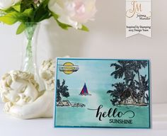 Inspired by Stamping, Joanna Munster, Tropical Paradise stamp set, Big Hello stamp set, tropcial card, thinking of you card