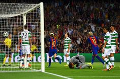 Lionel Messi of Barcelona celebrates scoring his third and his sides fifth goal during the UEFA Champions League Group C match between FC Barcelona and Celtic FC at Camp Nou on September 13, 2016 in Barcelona, Catalonia.