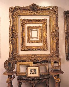 A frame within a frame etc.From Elle Decor Magazine & Website (their copyright) . How to choose the perfect picture frame . Classic Picture Frames, Empty Picture Frames, Antique Picture Frames, Empty Frames, Antique Frames, Old Frames, Vintage Frames, Frames On Wall, Frame Within A Frame