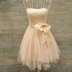 2015 A-line strapless chiffon tulle vintage short prom dress for teens, ball gown, evening dress #promdress