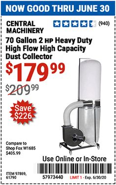 Portable Dust Collector, The Collector, Harbor Freight Tools, Dust Collection, Flow