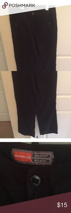 Active black convertible Capri pant merell m Merell active pants two front button pockets, pants can be unzipped into shorts/bermudas or can be folded over making them capri length, 2 back zip pockets. Opti wick, upf 30+ Very versatile.  Laying flat, waist measures approx. 17.5in., inseam approx32/33in. Thanks for looking and please ask all questions prior to purchase. Merell Pants Track Pants & Joggers