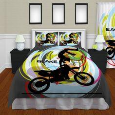 Gray Kids Motocross Bedding, Boys Sports Bedding , Dirt Bike Duvet Cover#11u2026