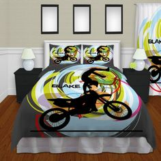 Gray Kids Motocross Bedding, Boys Sports Bedding , Dirt Bike Duvet Cover#11…