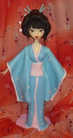 polymer clay Japanese Geisha girl