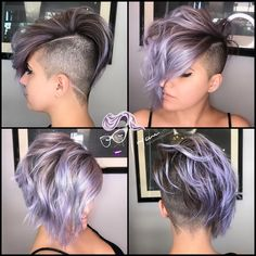 Guyanne: Hair. Makeup. Artist. on Instagram: DUSTY Here is a full view of yesterdays post full under cut and simple design with bob up top and lavender hues for my lovely Lianna Undercut Long Hair Artist bob cut design DUSTY Full Guyanne Hair Hues Instagram Lavender Lianna Lovely makeup post Simple top View yesterdays Short Curly Haircuts, Curly Hair Cuts, Girl Haircuts, Pixie Hairstyles, Pixie Haircut, Short Hair Cuts, Pretty Hairstyles, Curly Hair Styles, Short Pixie