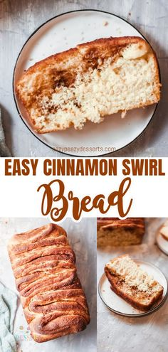 This cinnamon swirl bread is warm and gooey! Totally stuffed with ribbons of butter, sugar and cinnamon and baked until deep golden brown this swirl bread is soft and fluffy and incredibly delicious! #eazypeazydesserts #desserts #cinnamon #cinnamonbread #cinnamonswirl #swirlbread #delicious #recipeoftheday #fallrecipes #falldesserts #fall