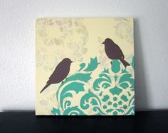 Love this stenciled artwork by Lori McKee