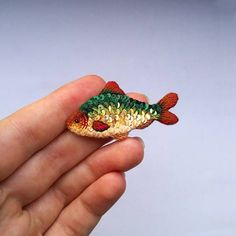 Sparkling brooch, sequin embroidery, fish brooch. Shiny pin, flashing, splendent, iridescent jewelry. Unusual jewelry, extraordinary gift.