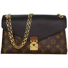 Pre-owned LOUIS VUITTON Monogram Canvas & Black Leather Pallas Chain... ($1,775) ❤ liked on Polyvore featuring bags, handbags, shoulder bags, handbags and purses, structured shoulder bags, leather man bag, chain strap purse, handbags shoulder bags, leather handbags and purse shoulder bag