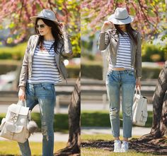 Get this look: http://lb.nu/look/8202433  More looks by Viktoriya Sener: http://lb.nu/viktoriyasener  Items in this look:  Choies Jacket, Mango Tee, Mango Jeans, Mango Backpack, Asos Hat, Adidas Sneackers   #chic #sporty #street