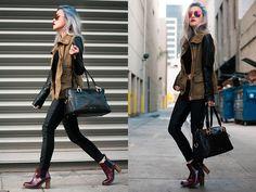 Dr. Martens Eloise, Zara Military Jacket, Articles Of Society Mya Black Moto, 417nyc Black Ride Bag