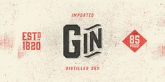 The Gin font family, a decorative vintage typeface. The Gin font is a decorative vintage display type family designed by Mattox Shuler (Font Publisher: Hol Top 10 Fonts, New Fonts, Type Fonts, Typography Letters, Typography Design, Hipster Fonts, Web Design, Graphic Design, Type Design