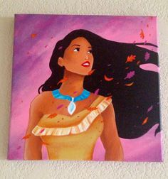 12x12 pocahontas painting by Jaysart on Etsy, $90.00