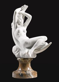 Séraphin Denécheau | FRENCH 1831 - 1912. DIANE COUCHÉE SUR UN CROISSANT DE LUNE  - white marble, on a veined peach marble base 98cm.