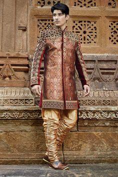 #Maroon & #gold multicoloured khinkwab & #velvet appealing  jodhpuri…