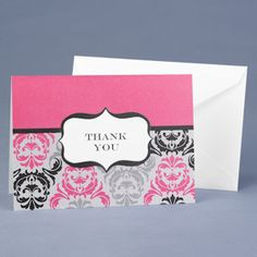 Fuchsia & Black Damask Thank You Cards from Wedding Favors Unlimited